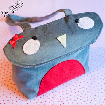 Cute bird purse / Kawaii red robin handbag / Adorable felt applique pretty animal womens bag / Grey velveteen.