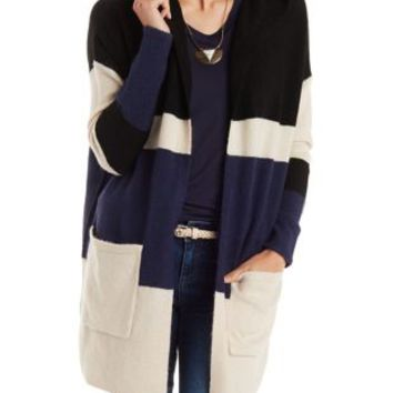Color Block Hooded Cardigan with Pockets