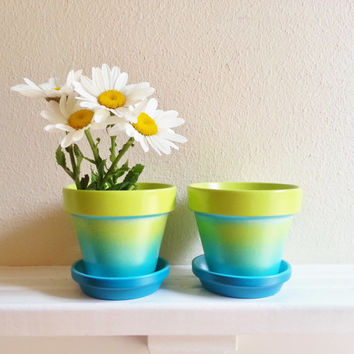 Ombre Planter pots with drip saucers, Aqua and Green Tie Dyed Herb Garden Pots, terracotta pots
