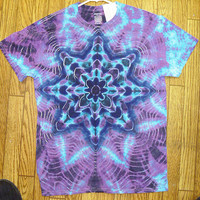 Handmade MEDIUM Blue Cosmic Star Short Sleeve Tie Dye Shirt NEW unisex guys girls #3