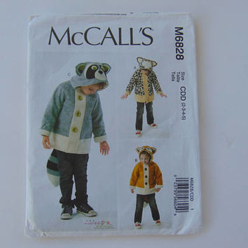 McCall's Sewing Pattern M6828 Children's Animal Coats for Boys and Girls Size CDD 2 to 5 UNCUT
