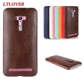 Fashion Type Crocodile Skin PU Leather Phone Case For Asus Zenfone Selfie ZD551KL Cases Cover back cover mobile phone shell