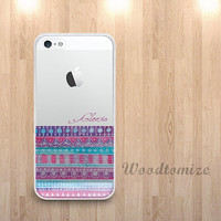Personalized Aztec style transparent phone case for iPhone 6, iPhone 4/4s/5/5s/5c, Samsung s4 s5 Note 3, tribal case with custom name (L51)