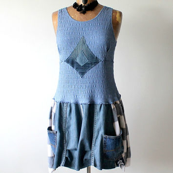 Blue Upcycled Dress Recycle Denim Cargo Pockets Wearable Art Bohemian Chic Clothing Shabby Country Dress Boho Women's Wear M L 'JASMINE'