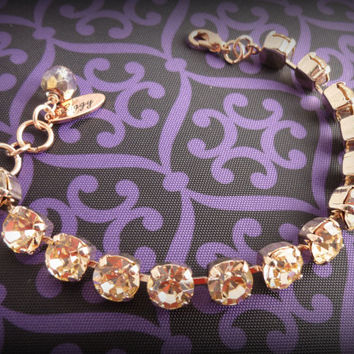 Swarovski crystal bracelet, Made with CRYSTALLIZED™ - Swarovski Elements in light peach on rose gold, not sabika, bridesmaid bracelet