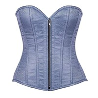 Daisy Corsets Top Drawer Dusty Blue Brocade Steel Boned Corset