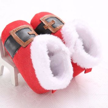 Newborn Infant Baby Boys Girls Soft Sole Christmas Crib Shoes 0-12M