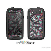 The Mirrored Coral and Colored Vector Aztec Pattern Skin For The Samsung Galaxy S3 LifeProof Case