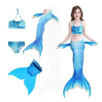 Girls Mermaid Tail For Pool With Shark Swimmers Tail Children's Mermaid Tails Cosplay Swimsuit Bikini Suit And Monofin