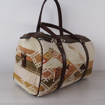 Bohemian Kilim Bag Vintage Speedy Bag in Beige and Brown Colour Designer Bags for Daily Use
