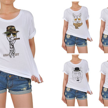 Women's Animal Retro Style Printed Cotton T-shirt WTS_12