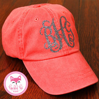 Monogram Hat in Glitter Baseball Cap Preppy Bridesmaid Sorority Wedding Bridal Party Baby Shower Glitter Monogrammed Hat Cap