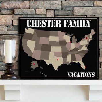 Americana Family Map Canvas - Sea