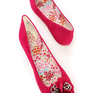 Raspberry Round Toe Floral Shiny Diamond Flats