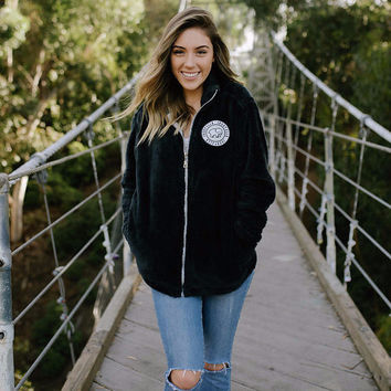 Black Sherpa Full Zip Fleece
