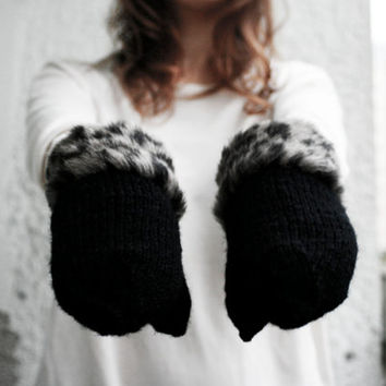 handmade black wool mittens with leopard print fur fringe