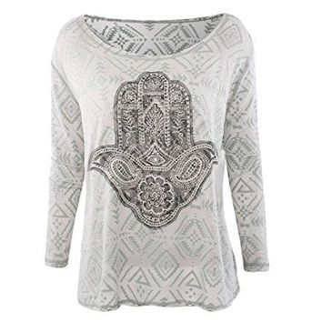 Egretfly Plus Size long sleeve Tunic For Women Vintage Casual Embroidered Blouse