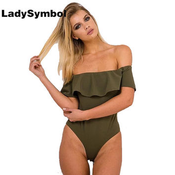 LadySymbol 2016 Ruffle Off Shoulder Knitted Bodycon Playsuits Leotard Bodysuit Back Zipper Slim Women Jumpsuits Romper Overalls
