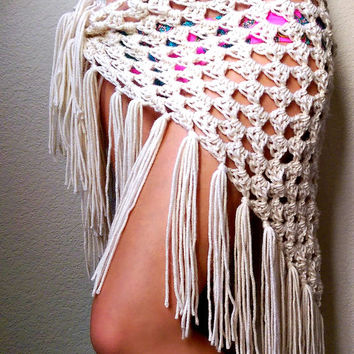 Crochet Sarong, festival clothing, Crocheted Fringe Scarf, Lacy Shawl Scarf, Boho Triangle Shawl, Spring Crochet Shawl, Crochet Lace Coverup