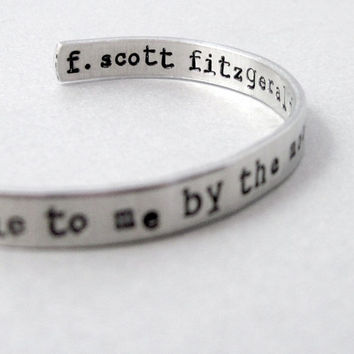 F Scott Fitzgerald Bracelet - Lie To Me By The Moonlight - 2-Sided Hand Stamped Aluminum Cuff - customizable