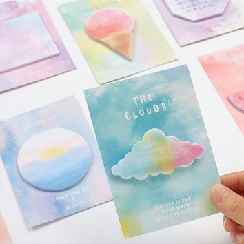 2 X Lovely Watercolor geometry sticky notes kawaii Memo Pad stationery School Supplies Planner Stickers Paper Bookmarks