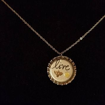 Silver Pendant Bottle Cap Messages in Resin Necklaces- Can Be Personalized