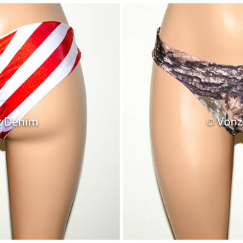 American Flag and Camo Scrunch Bikini Bottom, Cheeky Hips Bikini Bottom, Brazilian Bikini Bottoms, Fully Lined Scrunch Butt Bikini Swimsuit