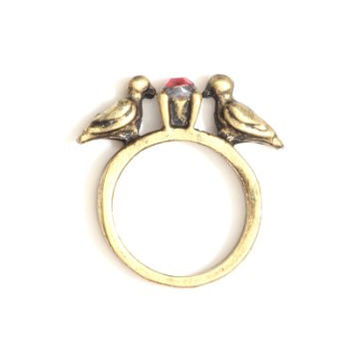 Kissing Love Birds Ring Vintage Gold Tone Red Crystal RI43 Animal Fashion Jewelry