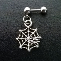 Spider and web 316L Surgical Steel 16g, 16 gauge  Helix, cartilage, tragus earring