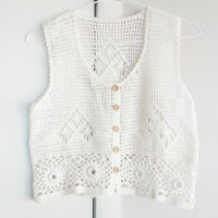 White Boho Crochet Vest Top- Crop Top- Bohemian Top- Crochet Vest- Vintage Shirt- Bohemian Fashion- Hippie Style- 1970's Style- Gypsy Style