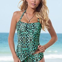 Mint Animal (MTA) Twist Bandeau Tankini Top