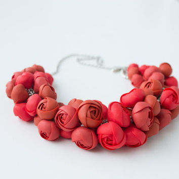 Red Bib Necklaces, Unique flowers necklace, statement necklace