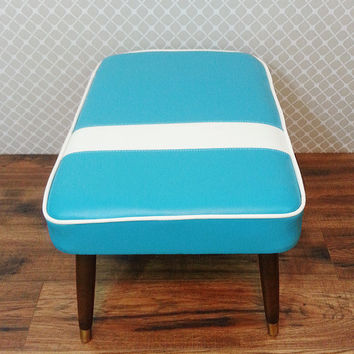 Mid Century Modern Inspired Footstool / Retro Bench / Pet Bed / MCM Ottoman / Atomic Furniture / Retro Decor / Vinyl Ottoman