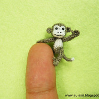 Micro Crochet Monkey - Mini Dollhouse Miniature Animals - 1 inch Scale White Grey Monkey - Made to Order
