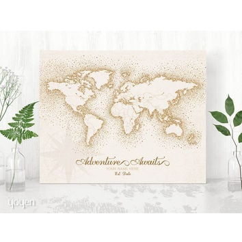 World Map Print - Vintage Brown Dots Personalized!