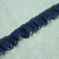 1 yard of 3/4 inch Royal Blue Ruffled Chantilly Lace trim for bridal, baby, altered couture, lingerie by MarlenesAttic - Item B3