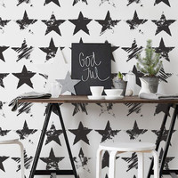 Black Star Pattern - Peel & Stick, Repositionable Fabric
