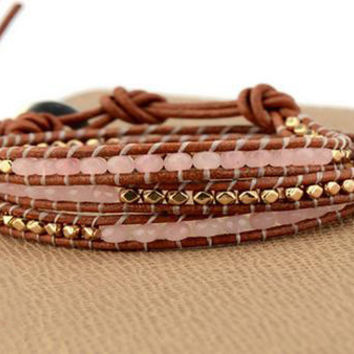 Wrap Leather Bracelet With Semi Precious Stones-In Stock
