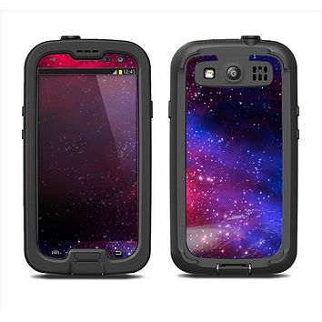 The Vivid Pink Galaxy Lights Samsung Galaxy S3 LifeProof Fre Case Skin Set