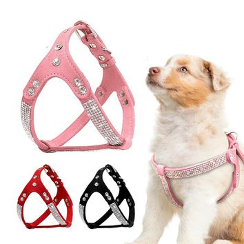 Soft Suede Leather Dog Harness