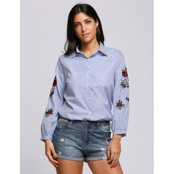Floral Embroidery Collared Long Sleeve Buttoned Work Shirt