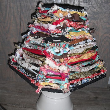 Hand tied colorful rag Lamp Shade .. Shabby chic BOHO bohemian Shade