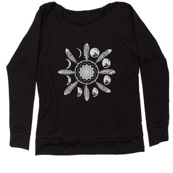 White Dreamcatcher Moon Phases Slouchy Off Shoulder Oversized Sweatshirt