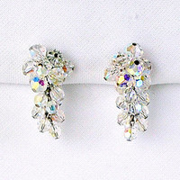 Vintage Crystal Earrings Aurora Borealis Clip On Drop Evening Prom