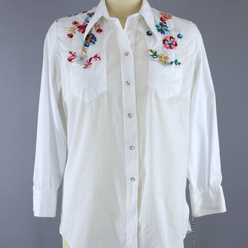 Vintage 1970s Rockmount Ranch Wear Floral Embroidered Western Shirt