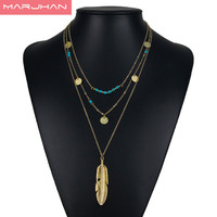 2017 Bohemian Choker Necklace Women Feather Simple Multilayer Long Necklaces & Pendants Fashion Jewelry
