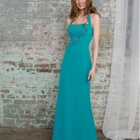 Beautiful Chiffon Party Dress With Halter Straps And Flower And Crystal Beaded Detailing On Waist ML635