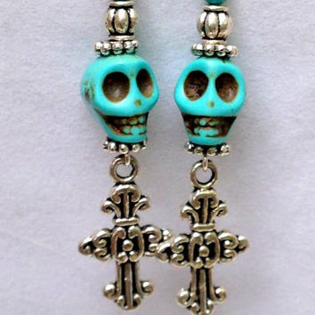Turquoise Skull Earrings - Halloween Earrings - Skull Earrings - Silver Cross Earrings - Horror Jewelry - Gothic Jewelry - Day of the Dead