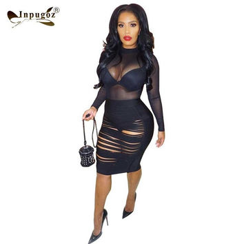 New Arrival Club Sexy Bodycon Dress Burn Hollow Out Mesh Stitching Sexy Dress Long Sleeve See through Dress