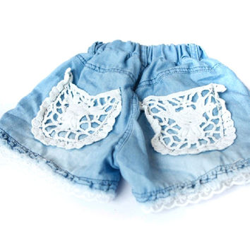1-6Years Kids Children Girls Shorts Jeans Lace Pocket Demin Jeans SM6